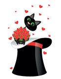 Cat on hat  holding  flowers Stock Photography