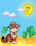 Cat in hat outdoor. Color illustration Stock Photography