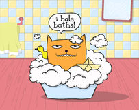 Cat Hates Bath. Grumpy cat sitting in a bathtub, with rubber ducky and paper boat saying I hate baths vector illustration