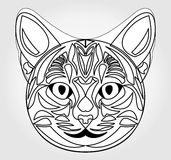 Cat head drawing. Symbol of sun god. Egyptian mythology symbol. Egypt sacred animal cat. Black and white cat head. Cat head tattoo template. Vector cat head Royalty Free Stock Photos