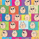 Cat Head Face Semaless Pattern_eps. Illustration of cat head face place on colorful square seamless pattern. --- This .eps file info Version: Illustrator 8 EPS royalty free illustration