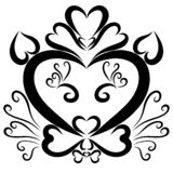 Cat Head, Gentleman   in a hat, hearts and curls royalty free illustration