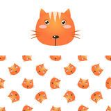 Cat Head Icon And Pattern Image stock