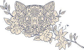 Cat Head Jasmine Flower Mandala illustration de vecteur