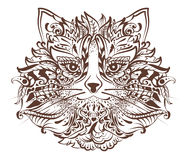 Cat head monochrome graphic drawing tattoo Stock Photography
