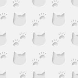 Cat head and paw silhouette seamless pattern Stock Images