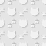 Cat head and paw silhouette seamless pattern Stock Photography