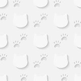 Cat head and paw silhouette seamless pattern Stock Photo