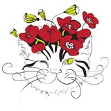 Cat head with poppy flowers. Monochrome cat head design with red poppy flowers on top Stock Photography