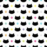 Cat Head Silhouette avec l'illustration colorée de vecteur de Paw Prints Cheerful Seamless Pattern Images stock
