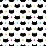 Cat Head Silhouette con l'illustrazione variopinta di vettore di Paw Prints Cheerful Seamless Pattern royalty illustrazione gratis