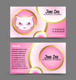 Cat head theme business card. Front and back side of cat head theme business card isolated on grey background Royalty Free Stock Image