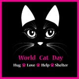 Cat head vector animal illustration for World cat day background text.   Royalty Free Stock Image