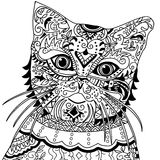 Cat head with vintage ornate Stock Image