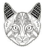 Cat head zentangle stylized, vector, illustration, pattern Stock Image