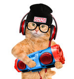 Cat headphones with tape recorder. Royalty Free Stock Photo