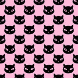 Cat heads seamless pattern. Domestic cat head pet silhouettes seamless pattern, vector background illustration in black over pink Stock Image