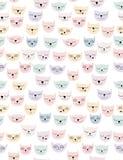 Cat Heads Vector Pattern abstracta divertida Estilo infantil simple Árbol congelado solo Fondo blanco Diseño dibujado mano stock de ilustración