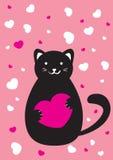 Cat with heart. Vector illustration stock illustration