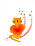 Cat with a heart Stock Photos