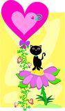 Cat with Heart Balloon Stock Image
