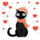 Cat and heart. Black cat in scarf and hat sitting around hearts and snowflakes. The love theme for Valentine Day Stock Photo