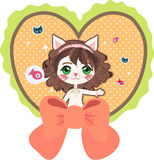 Cat with heart. Cute anime cat girl in heart-shape frame Royalty Free Illustration