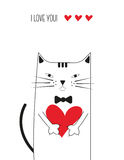 Cat with heart Royalty Free Stock Images