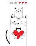 Cat with heart Royalty Free Stock Photography