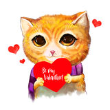 Cat with heart in hand be my valentine text. Cute cartoon character lover with greeting card. For invitations, posters. Cat with heart in hand be my valentine Royalty Free Stock Image