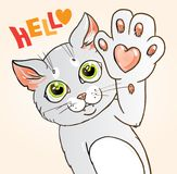 Cat with a with a heart on its paw graphic. Graphic vector illustration of a cat with a heart on its paw saying hello vector illustration