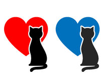 Cat, heart and place for text Royalty Free Stock Images