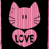 Cat with a heart. Romantic illustration royalty free illustration