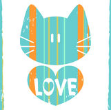 Cat with a heart. Romantic illustration vector illustration