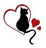 Cat in Hearts Stock Images