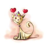 Cat with hearts. Illustration of a cat, a cat from a sweetheart`s eyes, fancy cap and a headband with antennae of hearts, Valentine`s Day theme royalty free illustration