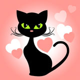 Cat Hearts Means In Love And Kittens. Cat Hearts Representing Valentine Day And Passionate Royalty Free Illustration
