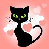 Cat Hearts Means In Love och kattungar royaltyfri illustrationer