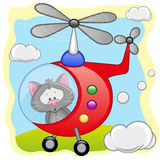 Cat in helicopter Royalty Free Stock Images