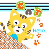 Cat hello. Vector illustration for children clothes for wallpaper Royalty Free Stock Photo