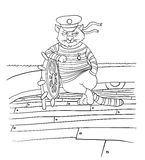 Cat at the helm of ship, vector illustration Royalty Free Stock Images