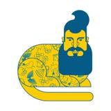 Cat Hipster con la barba ed il tatuaggio Animale alla moda alla moda B illustrazione di stock