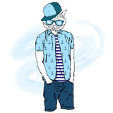Cat hipster shorts and shirt. Cat with the human body. Cat with glasses and a cap. Vector illustration for greeting card, poster, Royalty Free Stock Photography