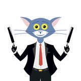 Cat hitman on white background Royalty Free Stock Images