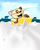 Cat hold cheese with milk splash and cow - vector Royalty Free Stock Photo