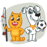 Cat Holding Big Fish Dog que guarda a bola de futebol Fotografia de Stock