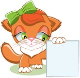 Cat holding a blank sheet of paper Stock Images