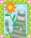 Cat holding flower. A cute gray cat is holding a flower in a decorative design Stock Photography