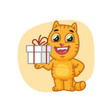 Cat Holding Gift et sourire Photographie stock