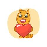 Cat Holding Heart Symbol y risas Imágenes de archivo libres de regalías